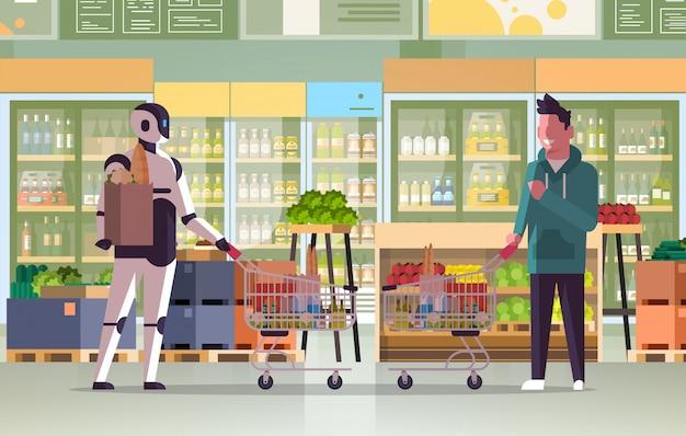 Robot en mens duwen trolley karren vol boodschappen robotachtig karakter vs man staan samen in supermarkt kunstmatige intelligentie technologie winkelen concept plat volledige lengte horizontaal