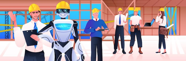 Robot- en werkliedeningenieurs in veiligheidshelmen die zich op het kunstmatige intelligentietechnologieconcept van de bouwplaats bevinden