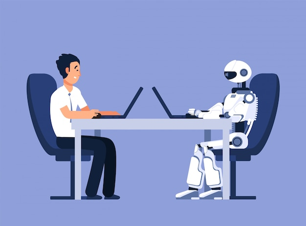 Robot en zakenman. robots versus menselijk, toekomstig vervangingsconflict. ai, kunstmatige intelligentie vectorillustratie