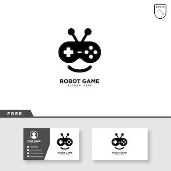 Robot game logo ontwerp en visitekaartjesjabloon