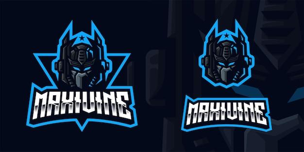 Robot gaming mascot-logo voor esports streamer en community