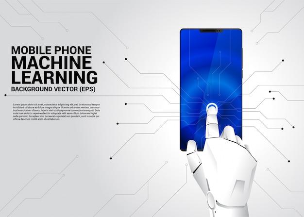 Robot hand aanraken op scherm van mobiele telefoon