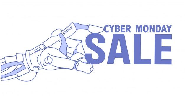 Robot hand houden cyber maandag verkoop tekst kunstmatige intelligentie dienst hulp reclame schets doodle