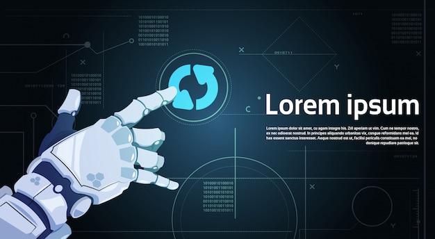 Robot hand touch systeem update knop op digitaal scherm banner met kopie ruimte