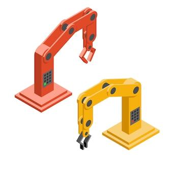Robot handen. industriële robotarmen. technologie en machine, hand en monteur. vector illustratie