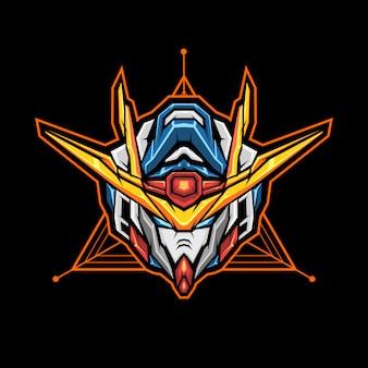 Robot hoofd esports logo. mascotte met hoofd van een robot.