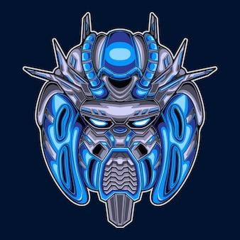 Robot hoofd krijger mascotte illustratie