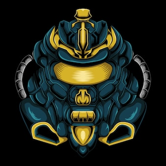 Robot hoofd mascotte logo ontwerp
