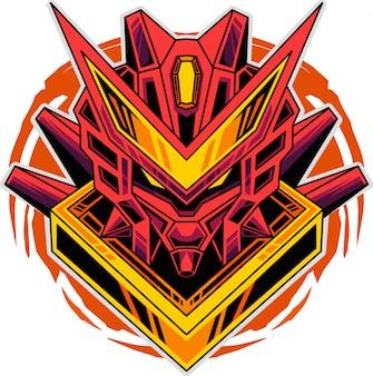 Robot hoofd mascotte logo
