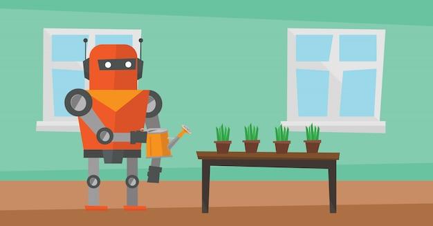 Robot huishoudster bloemen water geven.