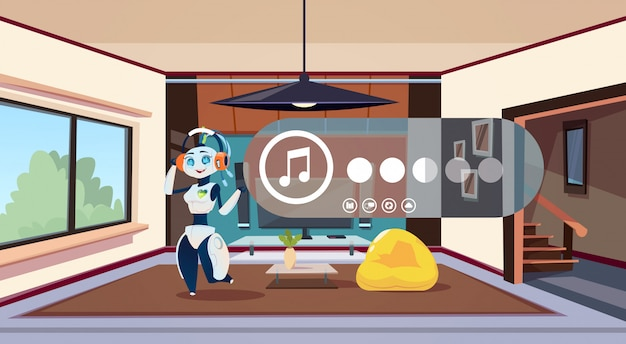 Robot huishoudster luisteren muziek tijdens het schoonmaken met behulp van technologie van smart domotica in de moderne woonkamer
