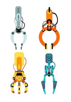 Robot industriële klauwen. machine klauw aangrijpend gaming apparaat set geïsoleerd