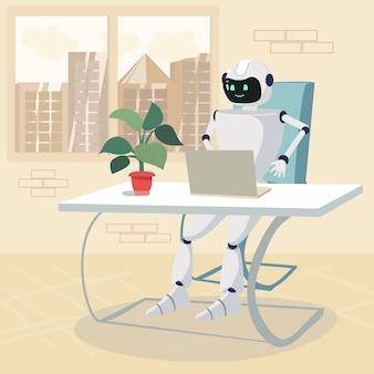 Robot karakter werken op laptop in office cartoon