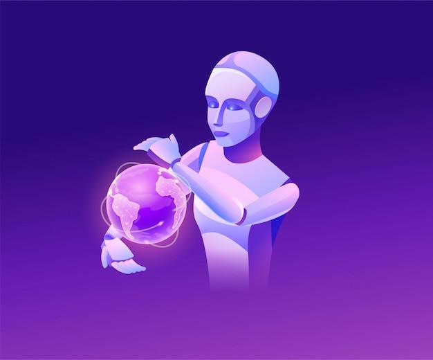 Robot kijken naar aarde, isometrische 3d-vectorillustratie, slimme technologie sjabloon, gloeiende wereldbol icoon, kunstmatige intelligentie transportsysteem beheren