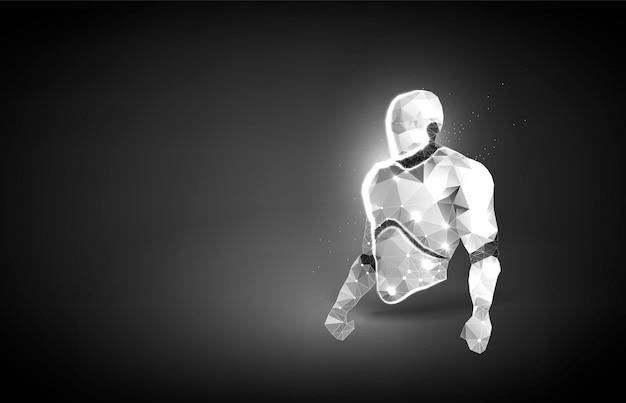 Robot lichaam laag poly kunst illustratie. concept voor chatbot of cyborg-beveiliging of big data. oncept voor poster. veelhoekige ruimte laag poly met verbonden punten en polygoonlijnen. 3d draadframe mesh