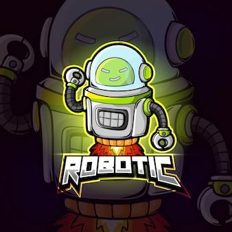 Robot mascotte esport logo ontwerp