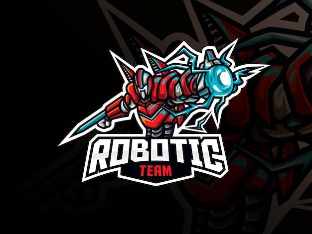 Robot mascotte sport logo ontwerp