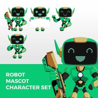 Robot mascotte tekenset logo