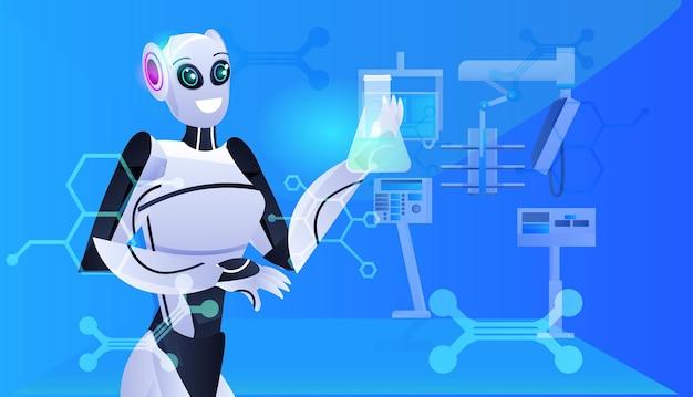 Robot met reageerbuis met vloeistof robot scheikundige experimenten in het laboratorium genetische manipulatie kunstmatige intelligentie concept modern laboratorium interieur portret horizontaal