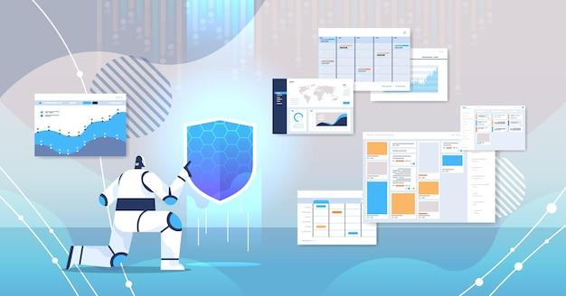 Robot met schildweb. bescherming van gegevensbeveiligingstechnologie
