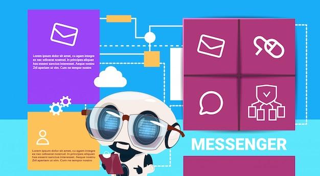Robot met tablet messenger applicatie presentatie interface kunstmatige intelligentie concept platte kopie ruimte
