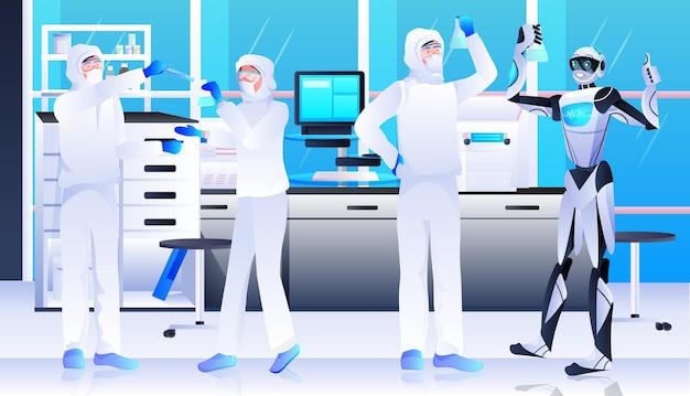 Robot met wetenschappers in beschermend pak die experimenten maken in het concept van kunstmatige intelligentie van laboratoriumgenetische manipulatie