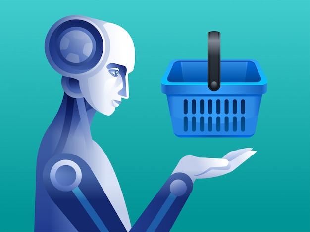 Robot met winkelwagentje. persoonlijke robot huishoudster futuristische concept illustratie.