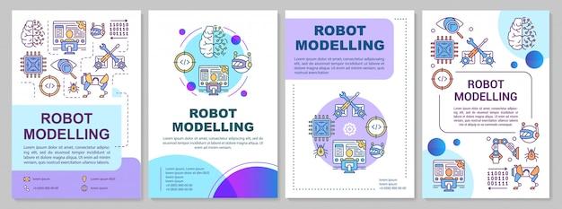 Robot modelleren brochure sjabloon. kunstmatige intelligentie.
