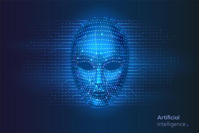 Robot of kunstmatige intelligentie cybergezicht met stippen en lijnen neurale netwerkverbindingen in de buurt