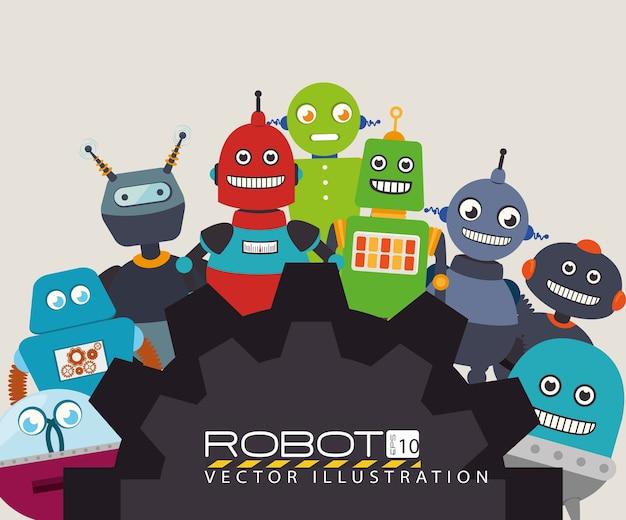 Robot ontwerp, vectorillustratie