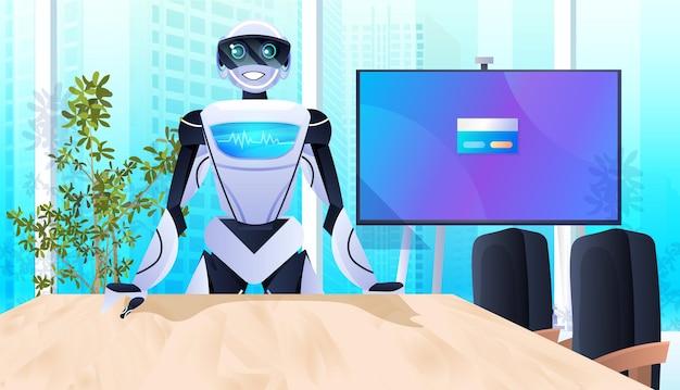 Robot op de werkplek robotachtige zakenman die in het kantoorconcept voor kunstmatige intelligentietechnologie werkt