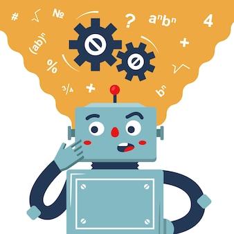 Robot overweegt de oplossing voor het probleem