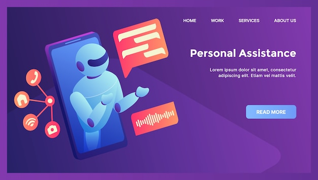 Robot persoonlijke assistentie concept voor website sjabloon landing homepage met moderne isometrische flat