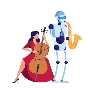 Robot saxofonist speelt muziek met vrouw. concept van futuristische technologie, robot en mens presteren samen.