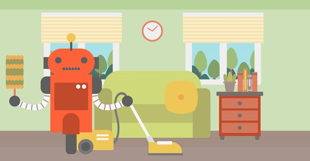 Robot schoonmakend tapijt met stofzuiger.