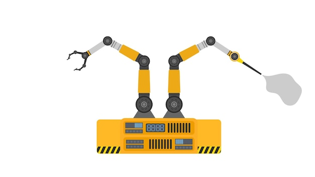 Robot spuitverf. industriële robotarm. moderne industriële technologie. apparaten voor productiebedrijven.