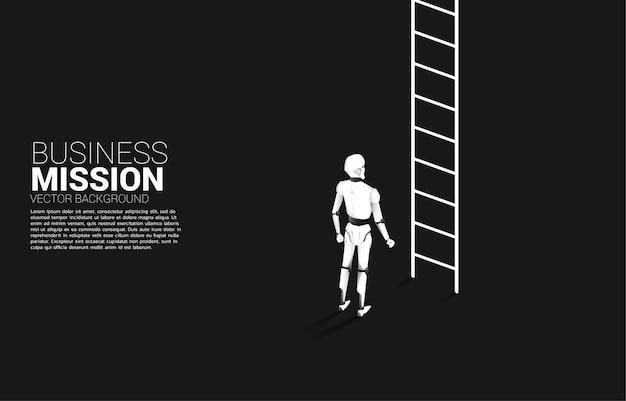 Robot staat om omhoog te gaan met ladder. concept van kunstmatige intelligentie en machine learning-werkertechnologie.