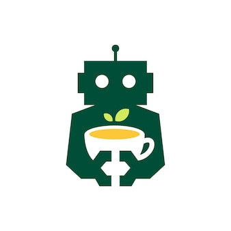 Robot theeblad beker drinken cyborg automatische negatieve ruimte logo vector pictogram illustratie