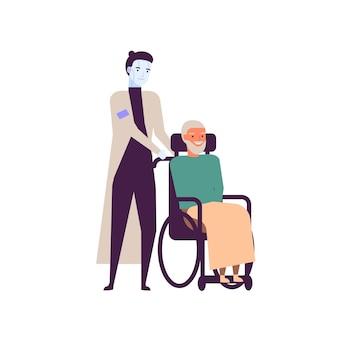 Robot verpleegster voor ouderen platte vectorillustratie. humanoïde cyborg en gelukkige oude man in rolstoel stripfiguren. futuristisch verpleeghuis ontwerpelement. high-tech verzorger concept.