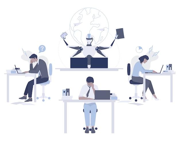 Robot versus menselijk concept. kunstmatige intelligentie werkt sneller en beter dan mensen. deadline idee. machine en mensen die op kantoor werken. modern robottechnologieconcept. illustratie