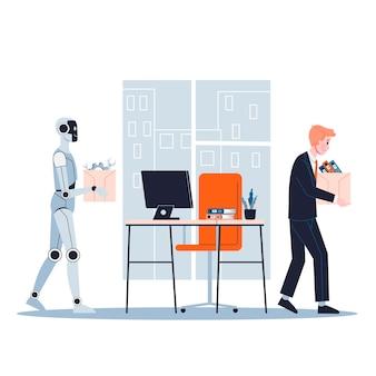 Robot vervangt de mens op kantoor. idee van kunstmatige intelligentie