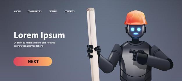 Robot voorman ingenieur in veiligheidshelm met bouwtekeningen moderne robot architect met blauwdrukken kunstmatige intelligentie technologie