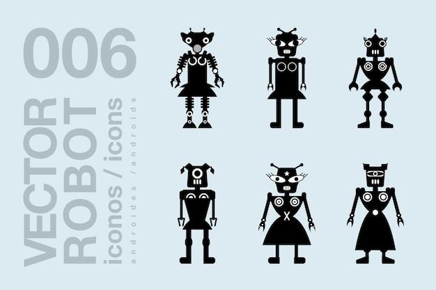 Robot vrouw 001, vector robot vrouw silhouetten set