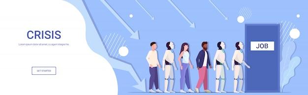 Robot vs menselijke ondernemers kandidaten in de rij staan voor deur kantoor inhuren baan werkgelegenheid automatisering kunstmatige intelligentie concept horizontaal volledige lengte kopie ruimte