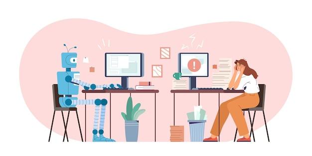Robot vs menselijke platte vectorillustratie. robotachtige machine en vermoeide vrouw die op de computer op kantoor werkt. humanoïde versus persoon. kunstmatige intelligentie uitdagende medewerker. moderne ai-technologie.