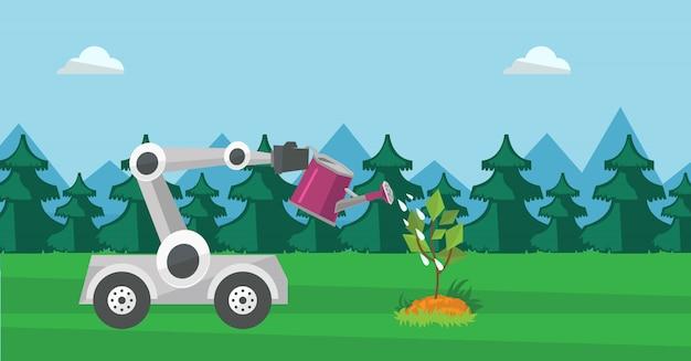 Robot water geven boom buiten.