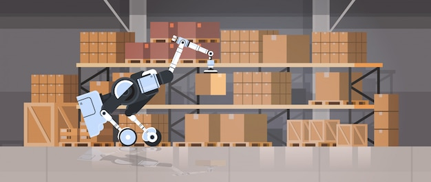 Robot werknemer laden kartonnen dozen hi-tech slimme fabriek magazijn interieur logistiek automatisering technologie concept moderne robot stripfiguur plat horizontaal