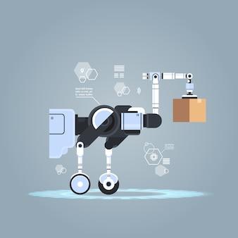 Robot werknemer laden kartonnen dozen hi-tech slimme fabriek magazijn logistiek automatisering technologie concept moderne robot stripfiguur plat