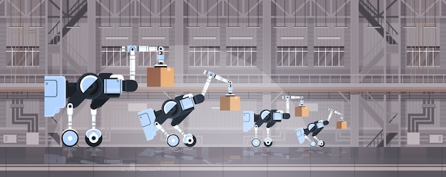 Robot werknemers laden kartonnen dozen hi-tech slimme fabriek magazijn interieur logistiek automatisering technologie concept moderne robots stripfiguren plat horizontaal