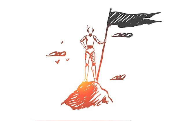Robot, winnaar, technologie, kampioen, machineconcept. hand getekende robot met vlag bovenop de schets van het bergconcept.
